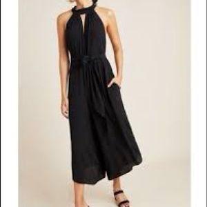 NWT Anthro Geneva Halter Wide Leg Jumpsuit Black